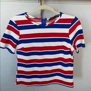 Red white and blue striped crop top w/ back zipper